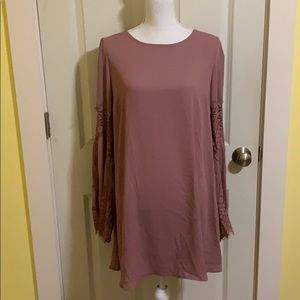 Dusty rose shift dress with lace bell sleeves NWT